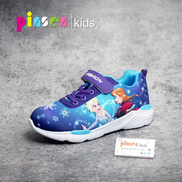2018 Spring New Children Shoes Girls Sneakers Elsa Anna Princess Kids Shoes Fashion Casual Sport Running Leather Shoes for girls 1