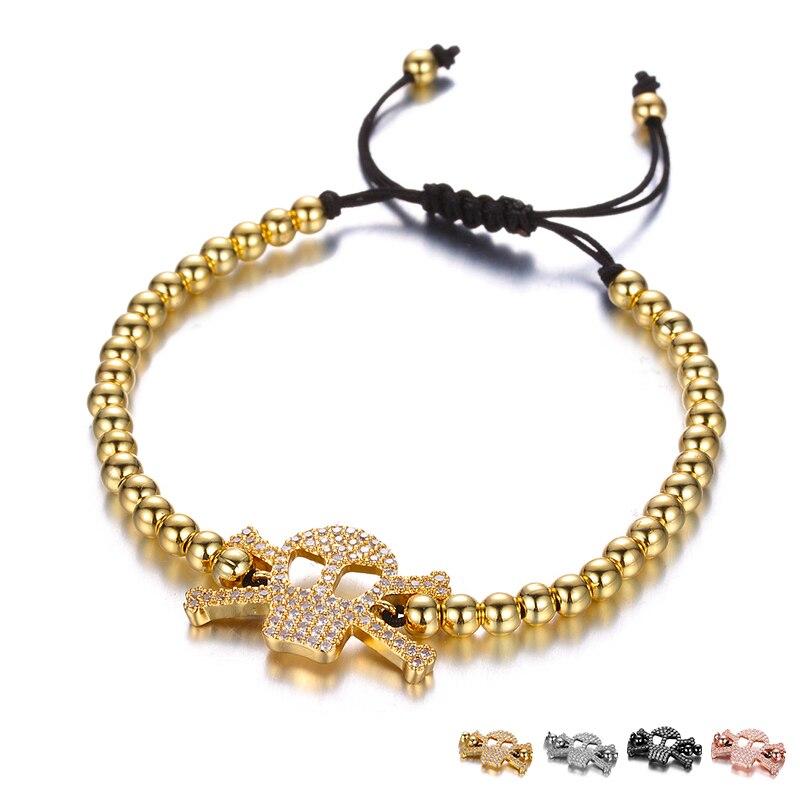 Japan Style Skull Head Charm Bracelet 4MM Copper Bead Braided Rope Hand Bracelet For Fashion Women Men Master Beaded Bracelets