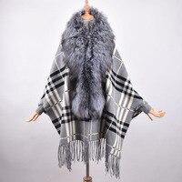 Women's Cashmere Shawl Tassels Scarf with Silver Fox Fur Trim fox fur collar wool cape coat woolen coat large size women