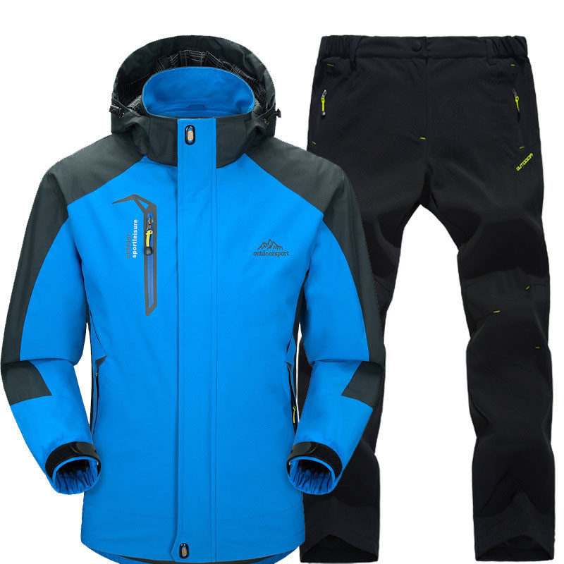 Spring Autumn Mens Hiking Jackets and Pants Male Outdoor Waterproof Windproof Trekking Camping Climbing Fishing Clothing Set slv уличный настенный светильник slv turn 230674