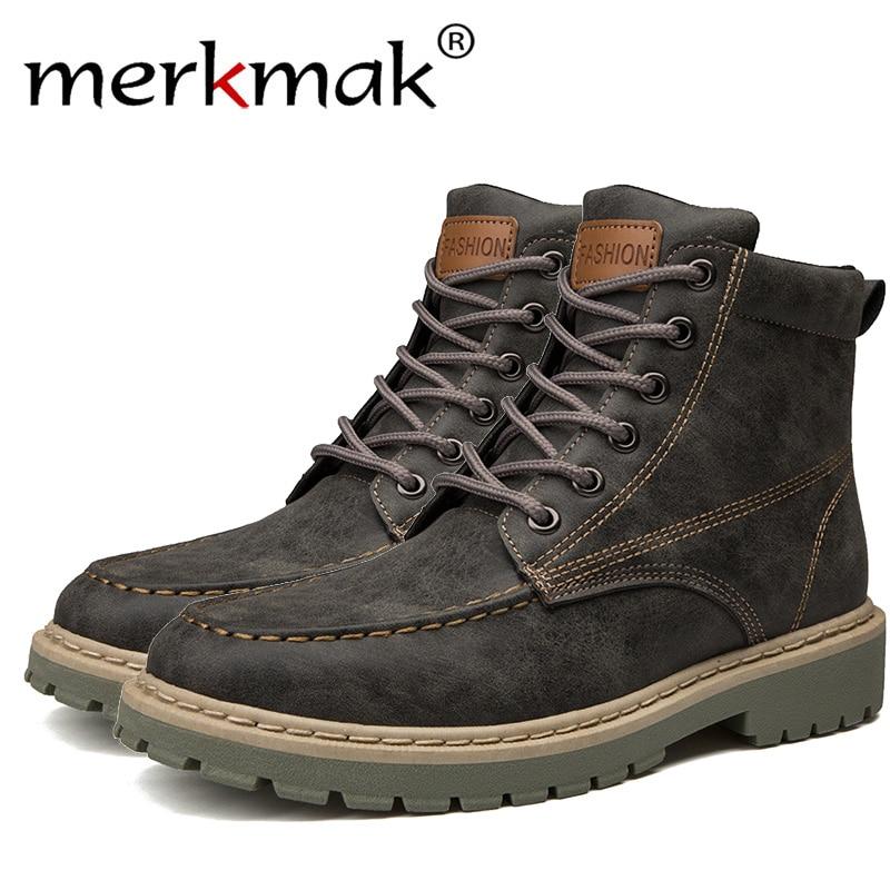 Merkmak Echtem Leder Männer Stiefeletten Vintage Lace Up High Top Schuhe Mode Winter Herbst Warme Martin Stiefel Casual Outdoor