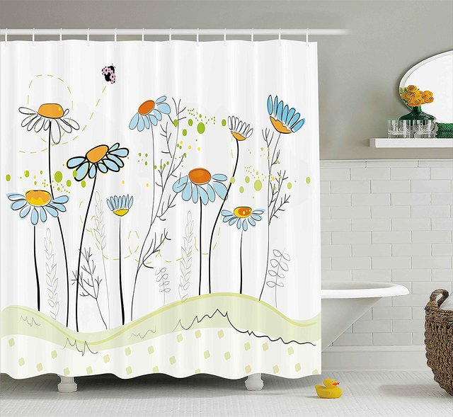 Floral Shower Curtain Gardening Theme Daisy Flowers In Spring Illustration Romantic Design Light Yellow Blue
