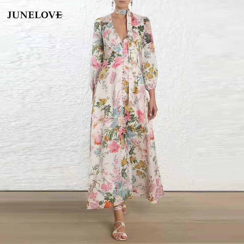 20919cd53ae76 JuneLove Women Long Sleeve Sashes Maxi Dress Vintage Street Female ...