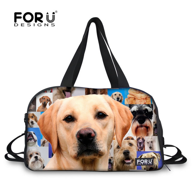 Forudesigns Cute Dogs Printing Gym Bag Women Fitness Outdoor Shoulder Sport Animal Duffle Multifunction