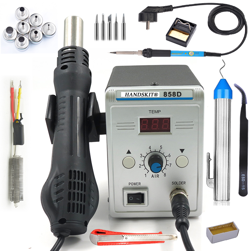 700W 858D Soldering Station LED Digital Solder Iron desoldering station BGA Rework Solder Station Hot Air Gun+ Electric iron set 700w hot air gun desoldering soldering station led digital solder iron desoldering station 858d electric soldering iron uk