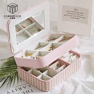 Image 2 - Casegrace dwuwarstwowa przenośna torba podróżna pudełko na biżuterię z lustrem skórzany Organizer do ekspozycji futerał do przechowywania kolczyków naszyjnik pierścionek