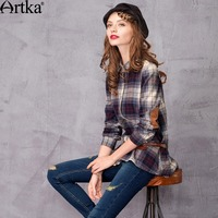 Artka Women S Winter Sanded Thickening Plaid Patchwork Turn Down Collar Long Design Color Block Vintage