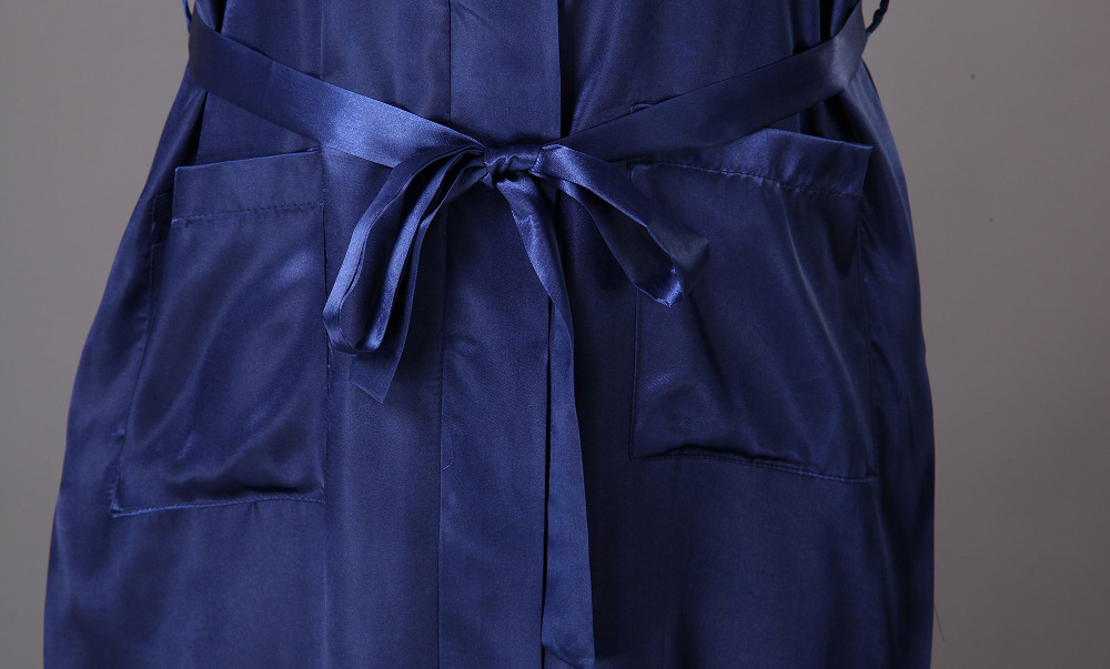 Men\'s chinese Embroidery dragon satin faux silk dressing gown blue ...