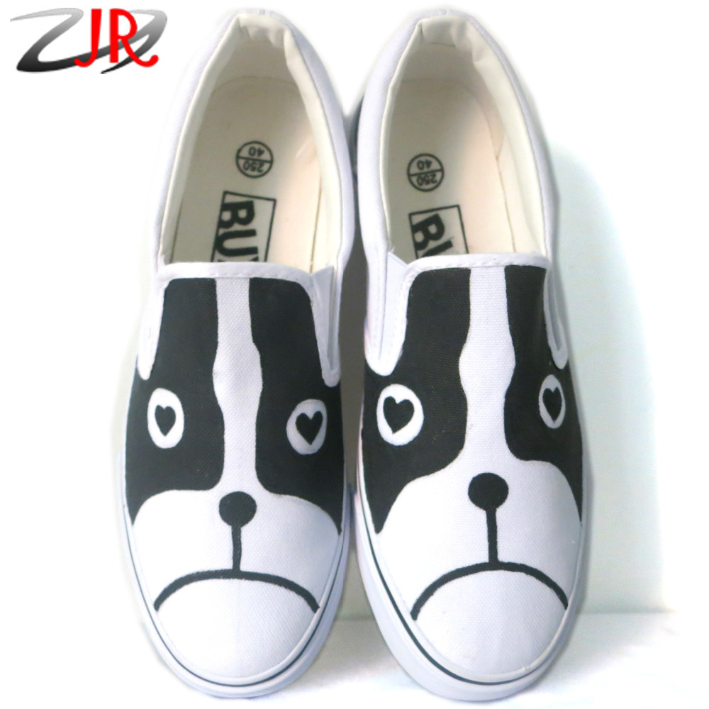Rabbit & Dog Cat Student Unisex Hand-painted Canvas Shoes Boys Girls Casual Slip-on Flat Fashion Children Kids - YI JIN RAN Customizable Hand Painted Store store