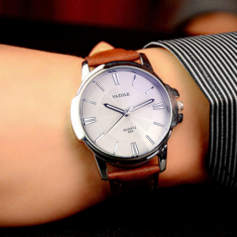 YAZOLE Leather Strap Quartz WristWatch Male Men Hours Top Brand Luxury Famous WristWatch Men Watches Relogios Masculino Clock