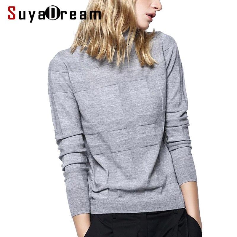Women Wool Sweater 100 Merino Wool Turtleneck Pullovers Plaid Knitted Sweaters For Women 2018 Fall Winter