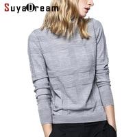 Women Wool Sweater 100%Merino Wool Turtleneck Pullovers Plaid Knitted Sweaters For Women 2018 Fall Winter Knitwwear