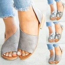 Sandalias de verano para mujer zapatos casuales de moda para mujer Sandalias de Punta abierta lateral con tacón Retro 2019 nuevo
