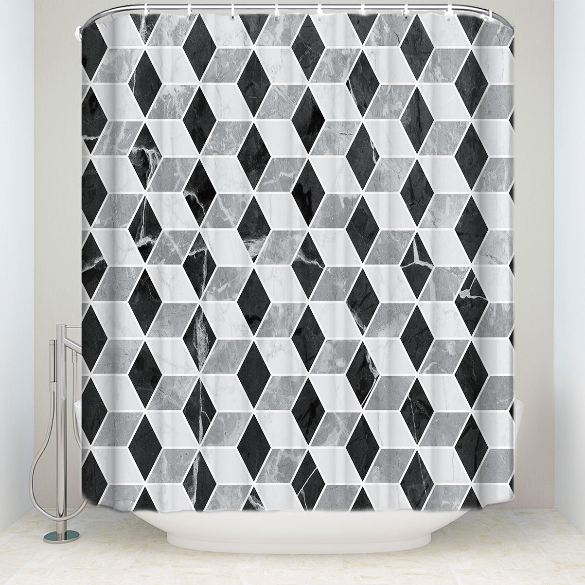 Waterproof Moroccan Pattern Geometric Shower Curtain Polyester Fabric Vintage Marble Mosaic Bathroom Curtains For Home Decor