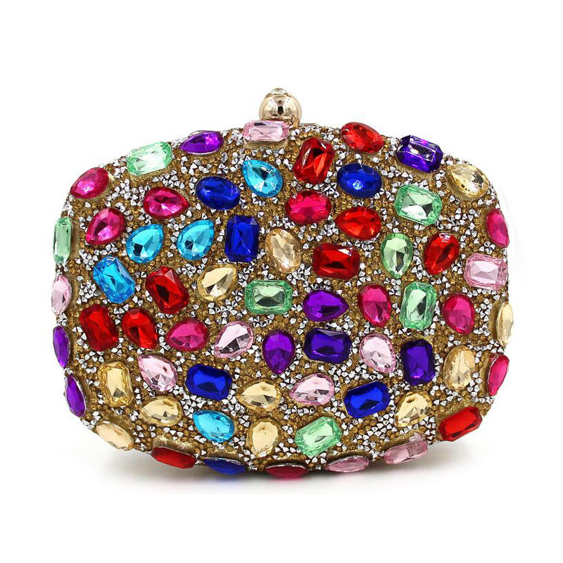 Luxury Top Quality Full Colorful Diamond Evening Bag Women Clutch Purse Crystal Wedding Party Chain Banquet Handbag Bolso 120227  luxury glass diamond evening bag women fashion handbag top quality wedding party bridal clutch purse chain shoulder bag bolso