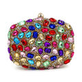 Luxury Top Quality Full Colorful Diamond Evening Bag Women Clutch Purse Crystal Wedding Party Chain Banquet Handbag Bolso 120227