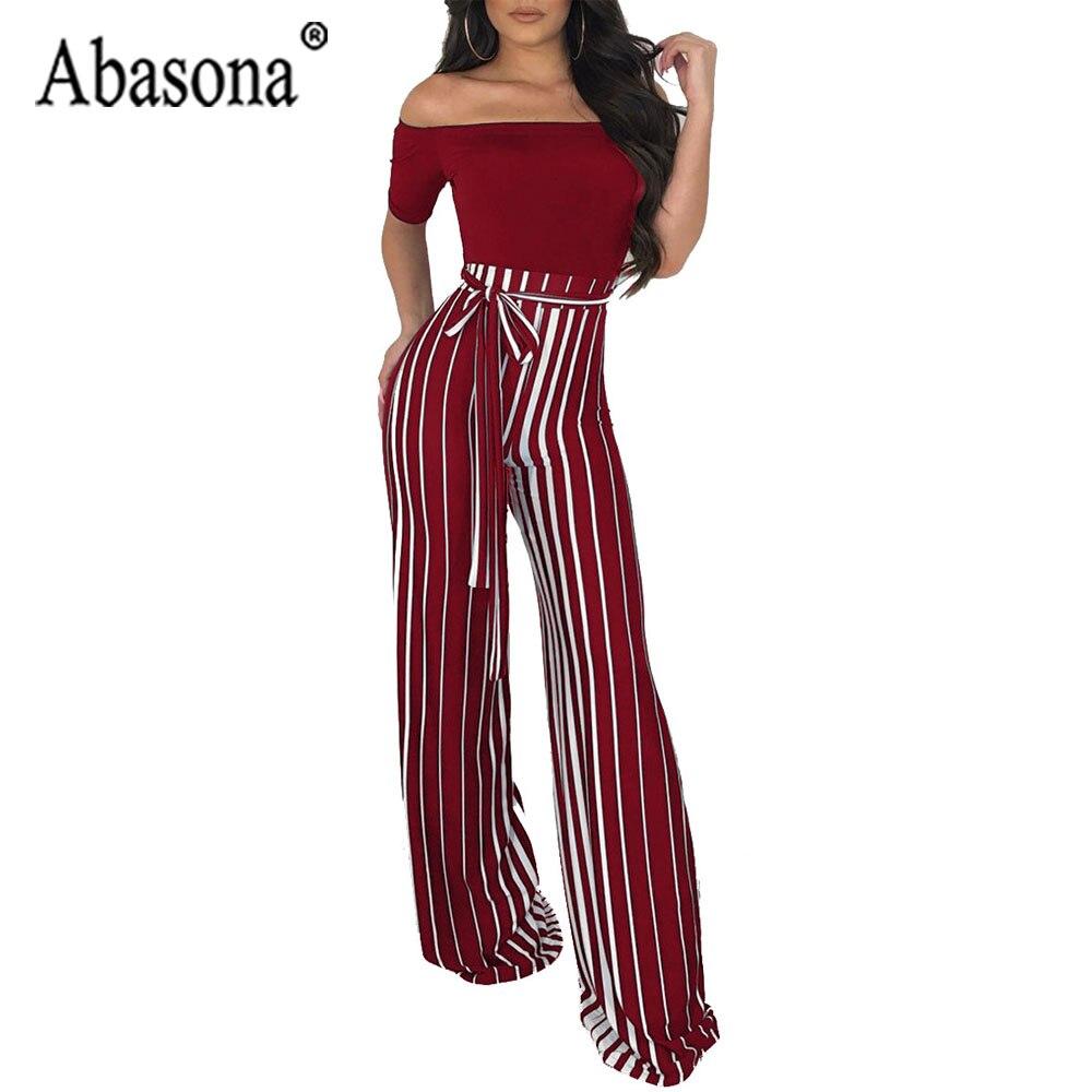 053cc465d347 Abasona Women White Stripe Off Shoulder Jumpsuit Long Loose Jumpsuit For  Women Sashes Zipper Short Sleeve
