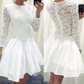MZY1402robe de cocktail white a line lace long sleeve lovely see through women dress cocktail dance party dress