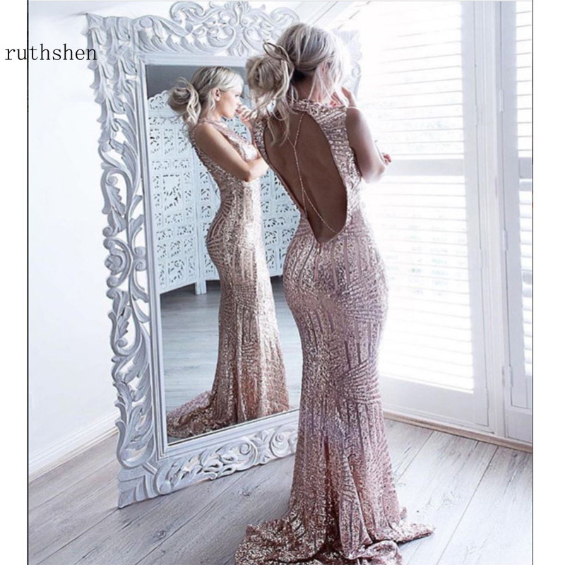 2019 Long Mermaid   Prom     Dress   Bestidos De Gala Sexy Backless Sequined Party   Dresses   Nigeria Evening Gown Rose Gold