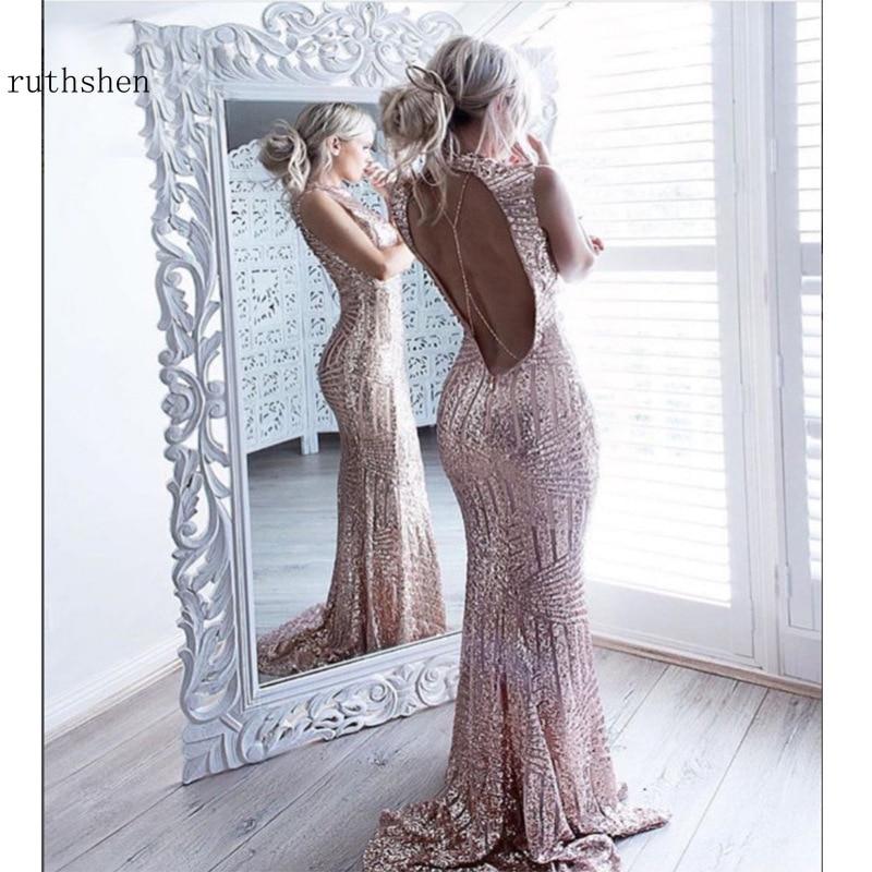 2019 robe De bal longue sirène Bestidos De Gala Sexy dos nu paillettes robes De soirée Nigeria robe De soirée or Rose