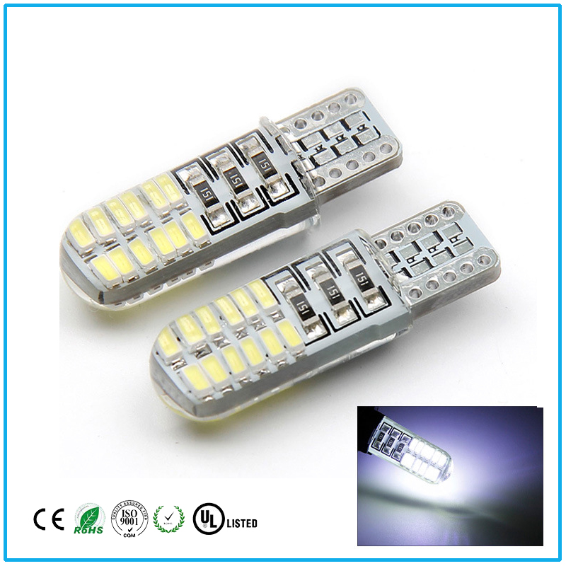 10PCS T10 24SMD 3014 Strode 194 168 W5W License plate light is very bright and easy to install, Working voltage 12 v.