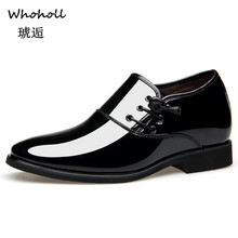 Whoholl Black Formal Shoes Men Loafers Wedding Dress Patent Leather Oxford for Chaussures Hommes En Cuir 9.5