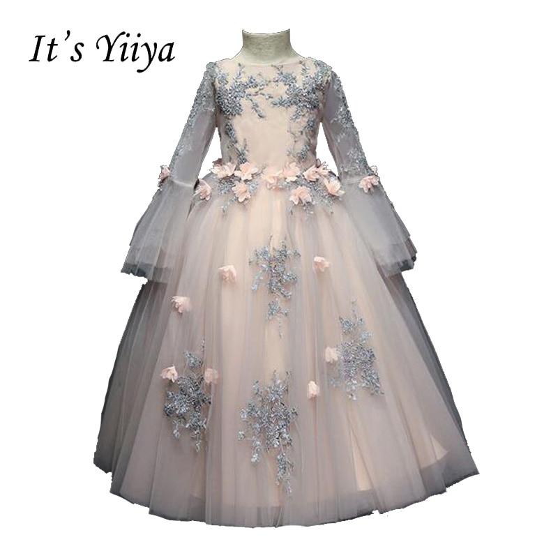 It's YiiYa Pink Long Sleeves Zipper Beading Regular   Flowers   Floor-length Ball Gowns Princess   Flower     Girls     Dress   Communion TS256