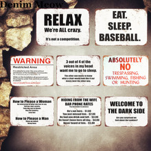 Relax Plaque Vintage Metal Tin Signs Home Bar Pub Decorative Metal Plates Eat Sleep Baseball Wall Sticker Iron Art Poster MN10(China)