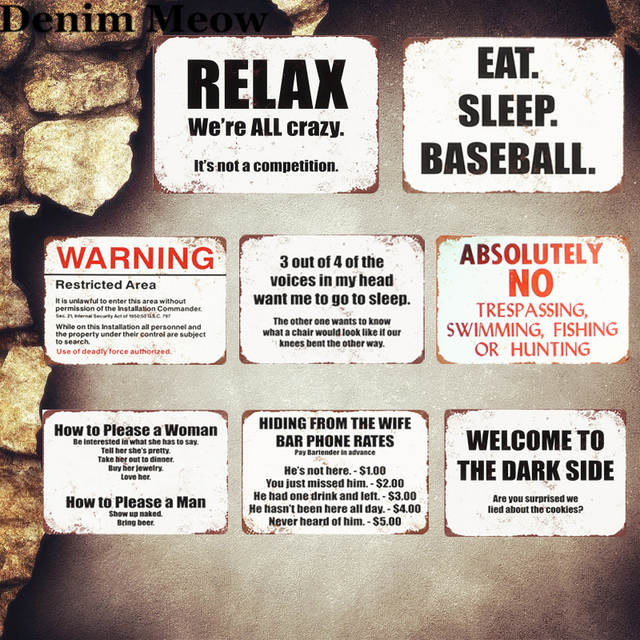 Relax Plaque Vintage Metal Tin Signs Home Bar Pub Decorative Plates Eat Sleep Baseball Wall