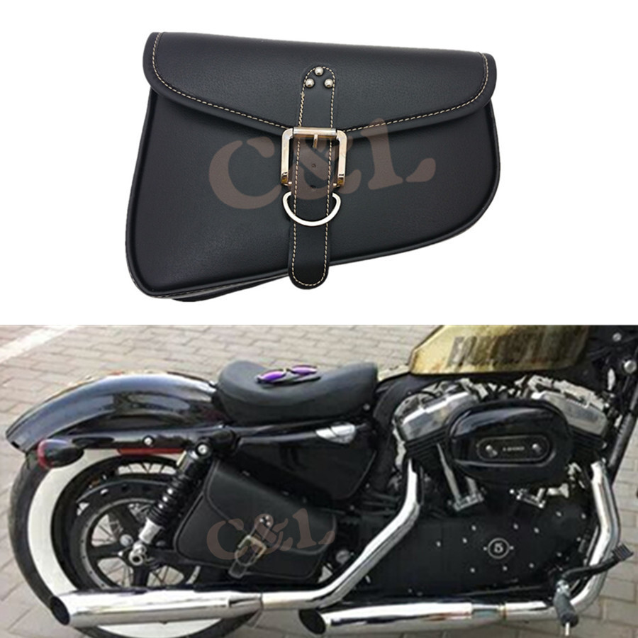 Brown PU solo Leather Left Side saddleBag Saddle Bag for Harley Sportster 883