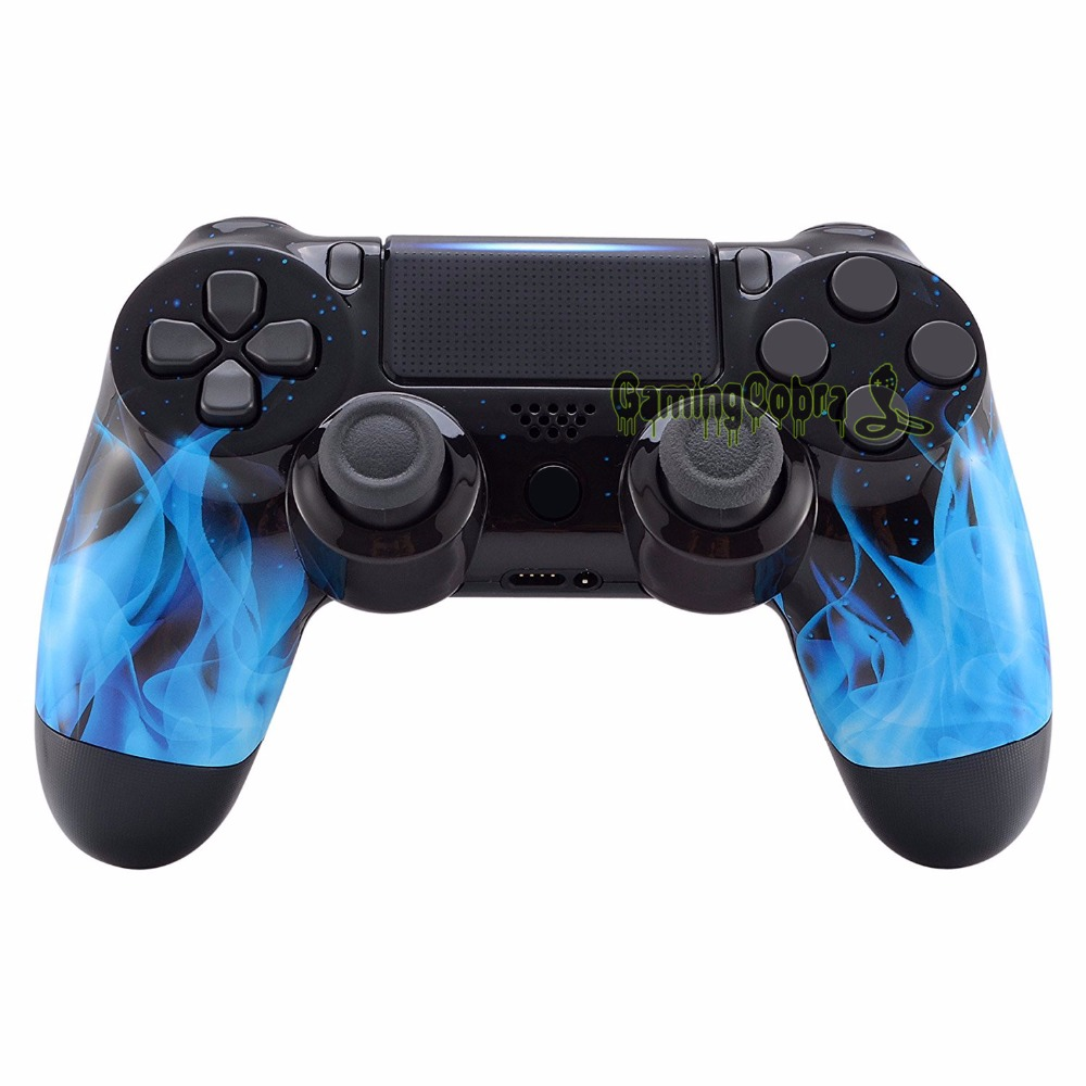 Blue Fire flame Front Housing <font><b>Shell</b></font> Faceplate for PS4 Slim / for PS4 Pro Controller (CUH-ZCT2 <font><b>JDM</b></font>-040 <font><b>JDM</b></font>-050 <font><b>JDM</b></font>-<font><b>055</b></font>) -SP4FT06 image