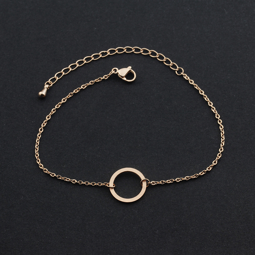 V locka vintage öppen cirkel rose guld charm armband för kvinnor - Märkessmycken - Foto 4