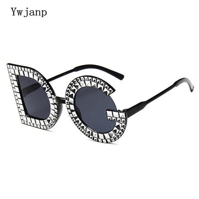 3def6ba86a5 Ywjanp Fashion Diamond D G Round Sunglasses Women Luxury Brand Plastic Leg  Oversized Sun glasses Vintage Shades Ladies Glasses