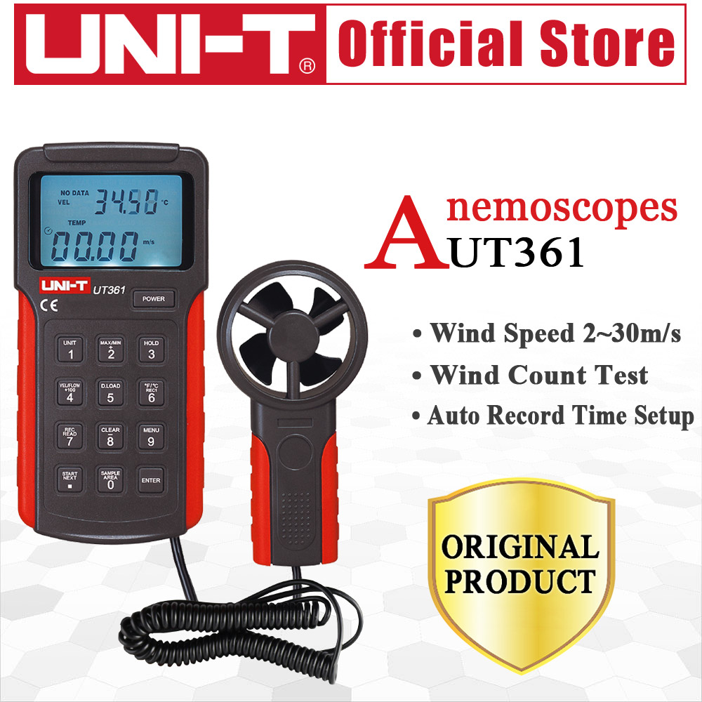 UNI-T UT361 Anemometer wind speed temperature tester Wind Count Units Switch Wind Speed Display Air Volume Meter Data Storage uni t ut361 anemometer wind speed gauge meter air velocity flow temperature measuring