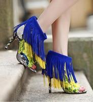 2016 Fashion Designer Tassel Ankle Boots Daxen Bootie Open Toe Multicolor Fringed High Heel Suede Platform
