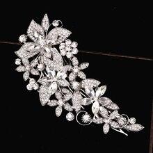 Красивые Цветочные Свадебные украшения для волос сверкающий кристаллический горный хрусталь свадебные волосы расчесывают шпилькой аксессуары для волос вечерние подарки W003