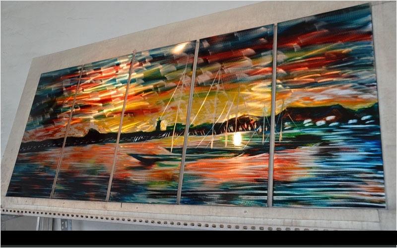 Art abstrait spécial Toki rakujitsu/coucher de soleil souvenirs peinture Sculpture Original moderne métal mur intérieur extérieur décor