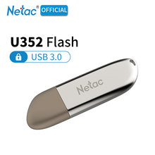 Netac U352 Metal Disco Flash USB 3.0 GB 32 16GB 64GB 128 GB Flash Drive Liga de Zinco 32 USB3.0 64 128 GB Pen Drive Criptografado Vara(China)