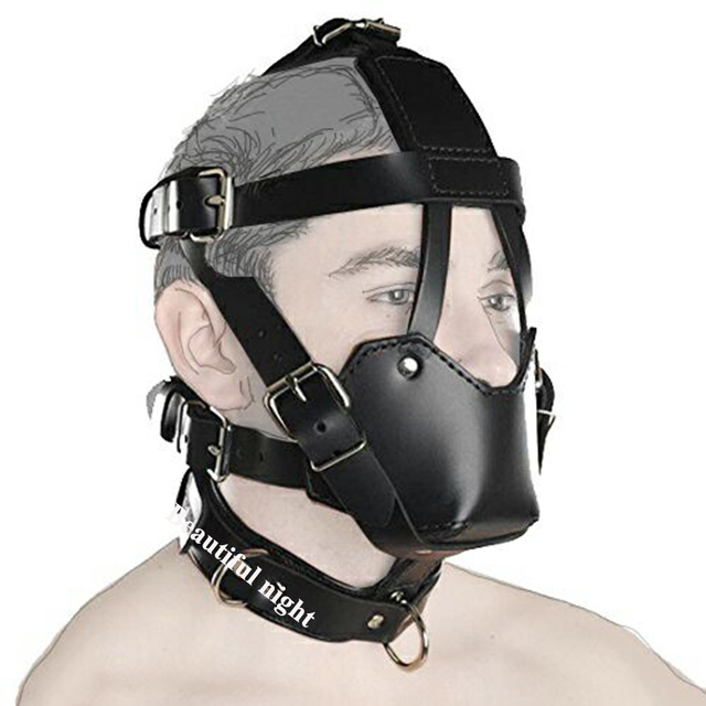 Ball Mouth Gag ,Leather Head Harness Mouth Mask BDSM Bondage Restraint Mouth Gag Muzzle,Adult Sex Toys 4