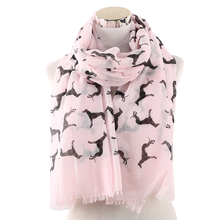Winfox 2019 Fashion Pink Grey Black Animal Dog Print Scarf Foulard Shawl Women Famale