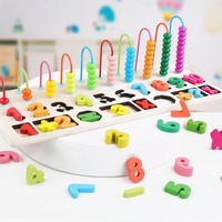 Wooden Kids Counting Stacking Board Wooden Math Toy Learning Educational Toys education ound bead matching game