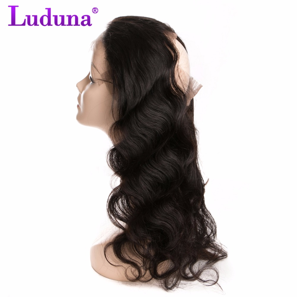 Luduna Brazilian Body Wave 360 Lace Frontal Closure Non-remy Human Hair Bundles Natural Black Color 120% Density Free Shipping