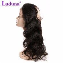 Luduna Brazilian Body Wave 360 Lace Frontal Closure Non remy Human Hair Bundles Natural Black Color