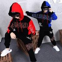 Crianças Primavera Outono Meninos do Hip hop Terno Camisolas Plena manga + Calça Haren Calças 2 Pcs Conjuntos Para 12 14 ano Vetement Garcon Conjuntos de roupas     -