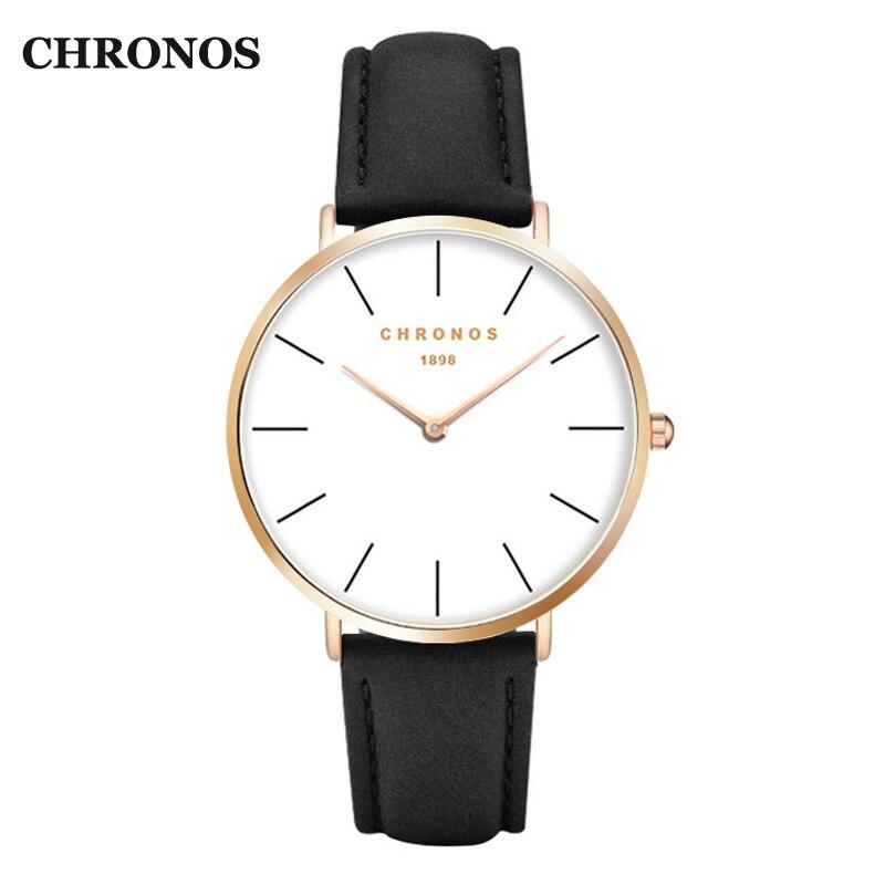 Chronos 1898 Uhren Männer Luxus Casual Frauen Uhren Leder Quarzuhr Rose Gold Silber Männlichen Uhr Relogio Masculino