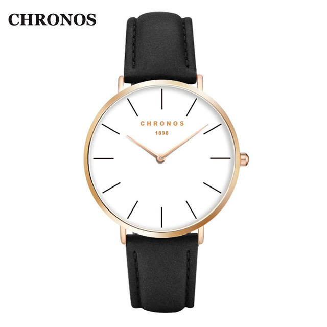 Chronos 1898 Watches Men Luxury Casual Women Watches Leather Quartz Watch Rose G