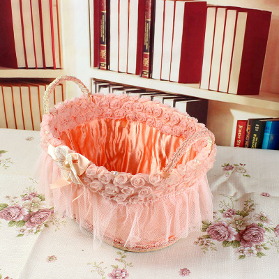 Free shipping cane lace cloth storage basket roses cosmetics sundry receive basket