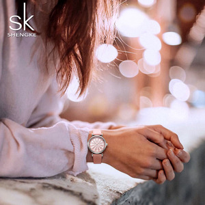 Image 2 - Shengke Womens Watches Luxury Ladies Watch Leather Watches For Women Fashion Bayan Kol Saati Diamond Reloj Mujer 2020