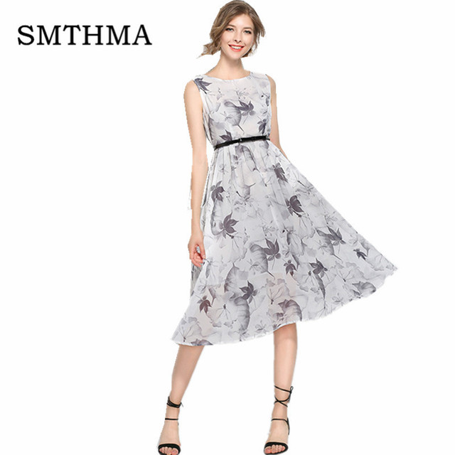 Smthma Summer Runway Designer Womans Dresses Gray Dress Leaf Pattern Print Tall Waist Y Long
