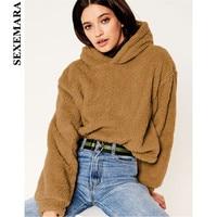 SEXEMARA 2018 Autumn Winter Pullover Hoodies Loose Thick Warm Lamb Fluffy Faux Fur Teddy Coat Streetwear Sweatshirt Tops C32AH
